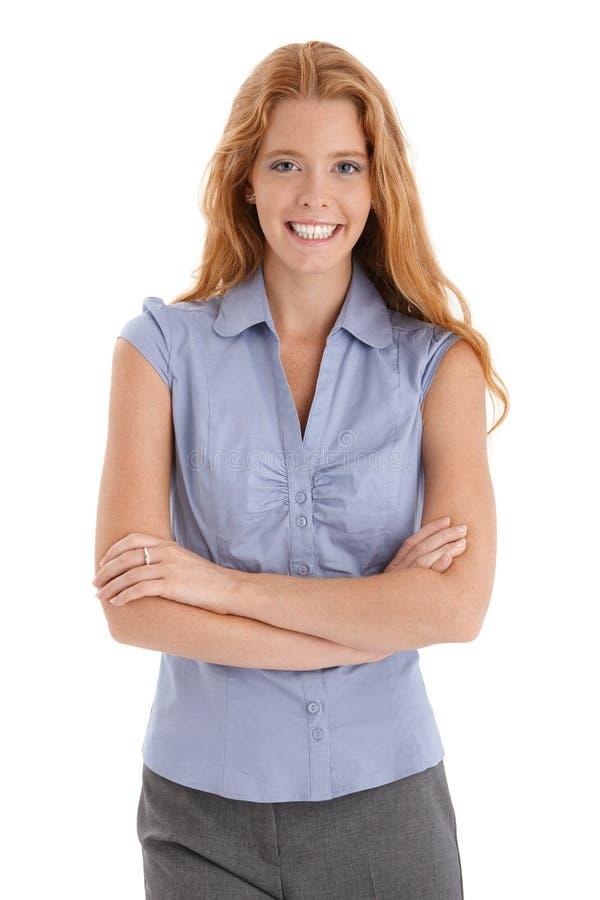 Riso feliz da mulher do redhead fotografia de stock