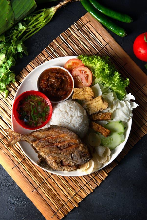 Riso fritto indonesiano malay tradizionale del pesce dei pesci castagna immagine stock libera da diritti