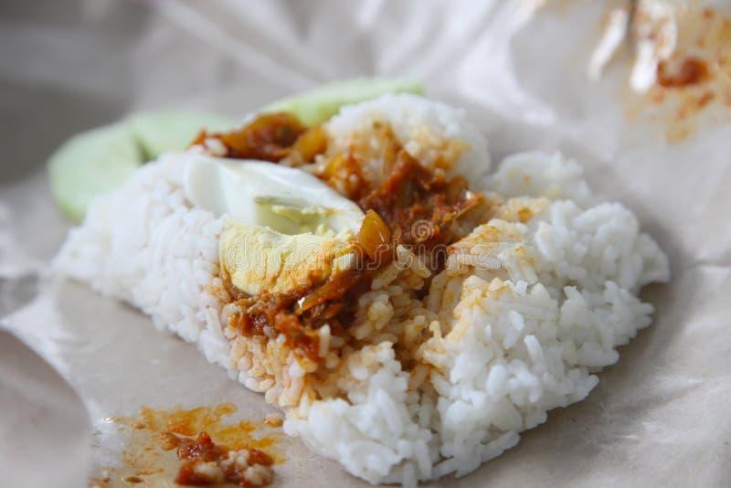 Riso malese tradizionale della noce di cocco fotografia stock