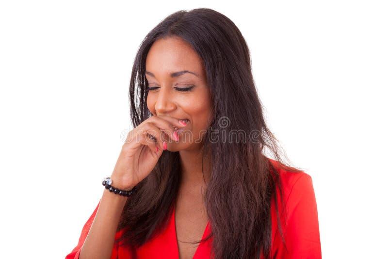 Riso novo bonito da mulher preta foto de stock