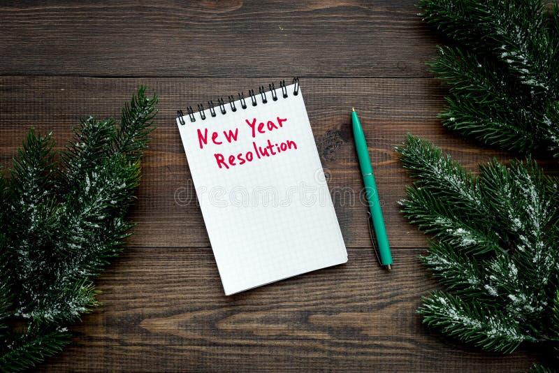 Risoluzione di nuovo anno Ramo attillato ordinato del taccuino sulla vista superiore del fondo di legno scuro fotografia stock