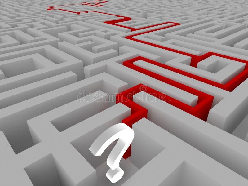 Risoluzione di un labirinto illustrazione di stock