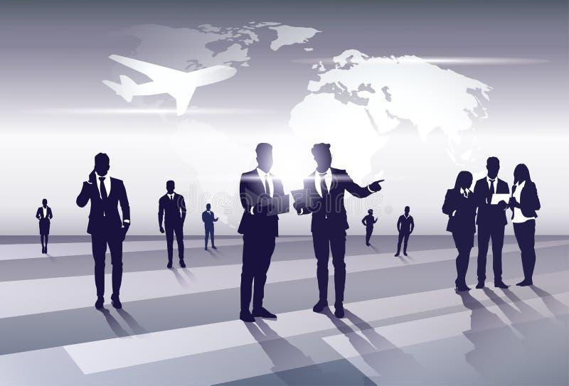 Risorse di Team Silhouette Businesspeople Group Human di affari sopra il concetto di volo di viaggio della mappa di mondo illustrazione vettoriale