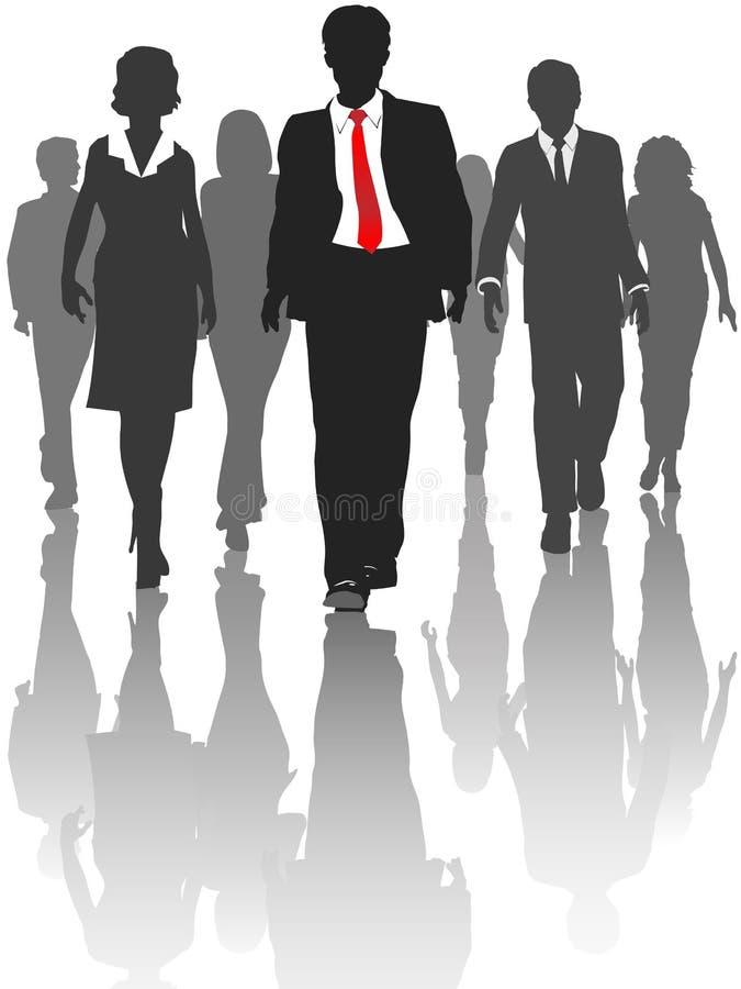 Risorse umane della camminata della gente della siluetta di affari royalty illustrazione gratis