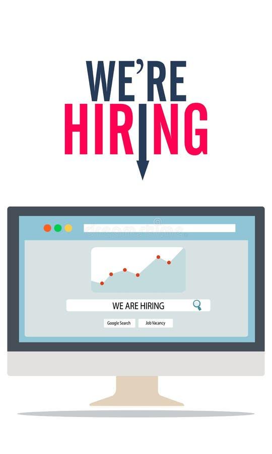 Risorse umane Trovi un lavoro online e la piattaforma di assunzione sul concetto di occupazione del computer - ricerca di vettore illustrazione di stock