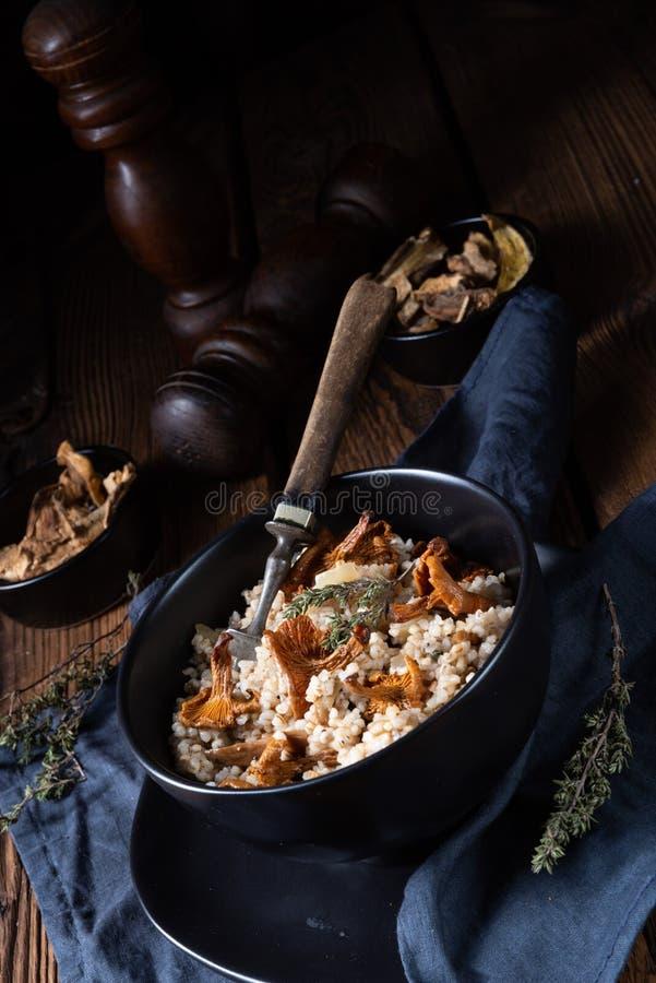 Risoto do polimento de Kaszotto- do mingau de cevada com cogumelos imagens de stock royalty free