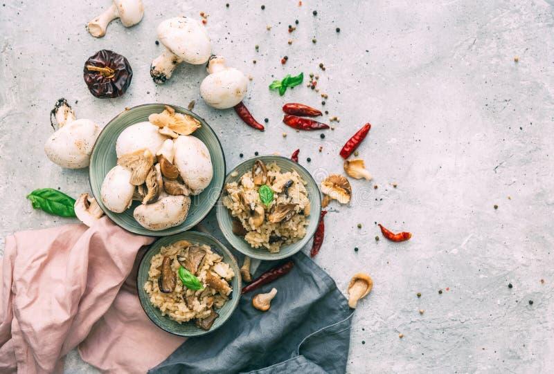 Risoto selvagem dos cogumelos com salsa e Parmesão imagem de stock royalty free