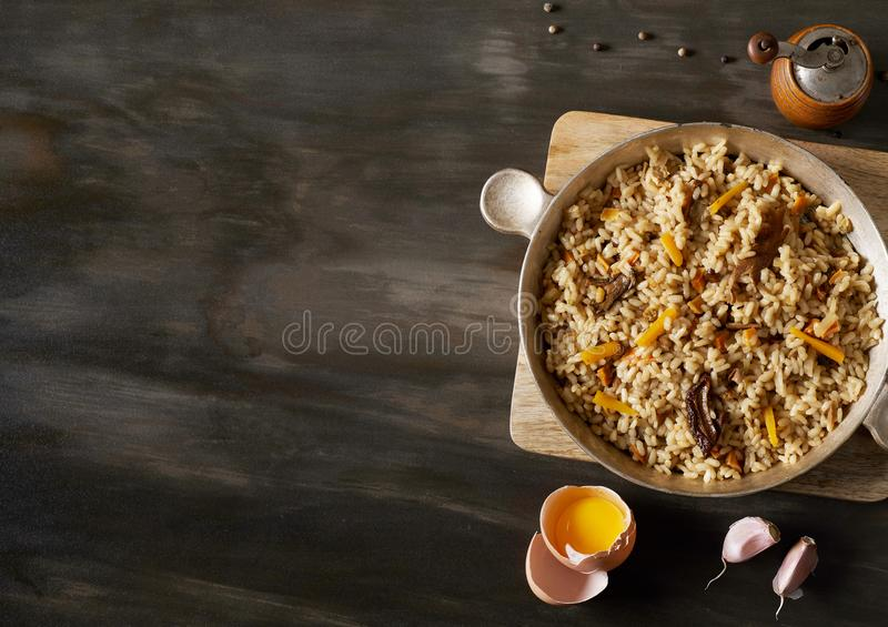 Risotto from above stock photography