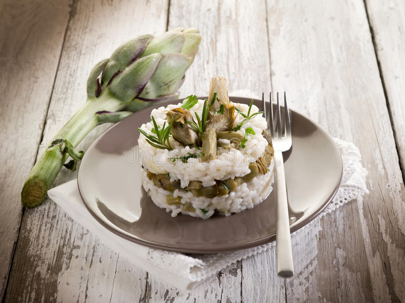 Risotto with artichokes royalty free stock photography