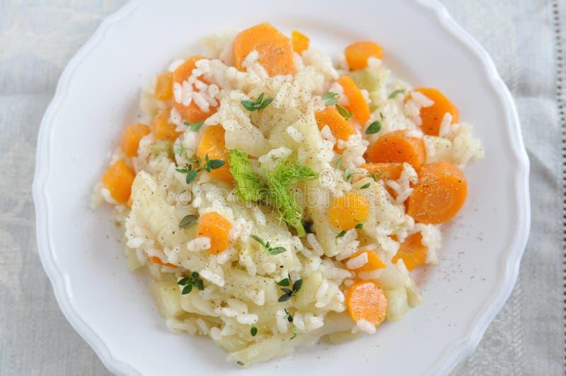 Risotto avec les carottes et le fenouil photographie stock libre de droits