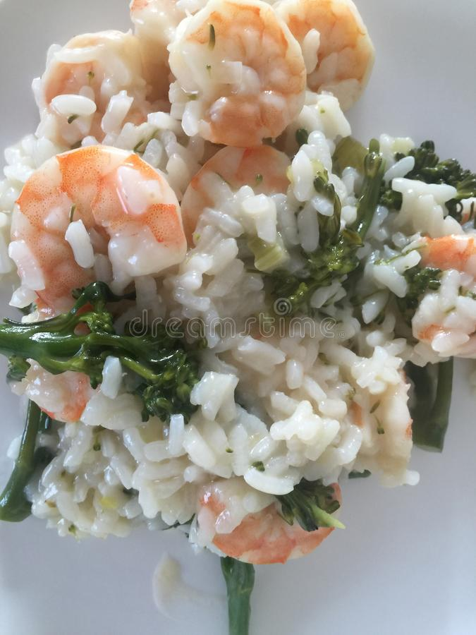 Risotto gambas brokkoly stock photography