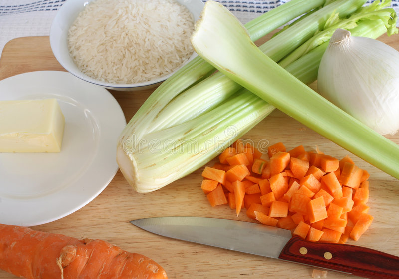 Risotto ingredients from above royalty free stock photos
