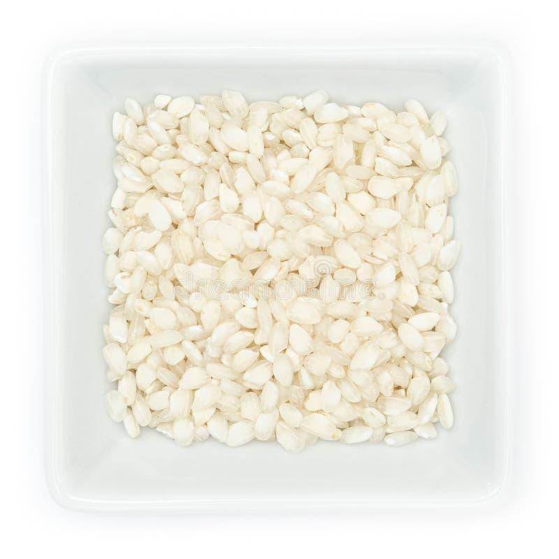 Risotto italiano Vialone del riso nano in ciotola bianca fotografia stock libera da diritti