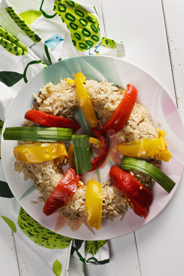 Risotto with peppers above view royalty free stock photography