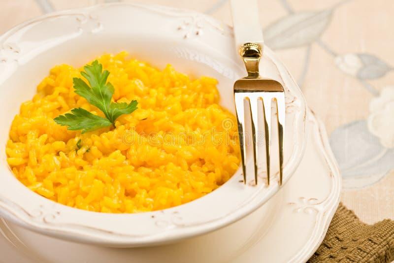Risotto with saffron stock photo