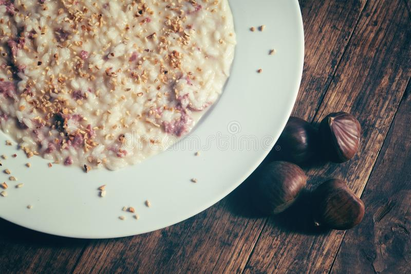 Risotto with sausage stock photos