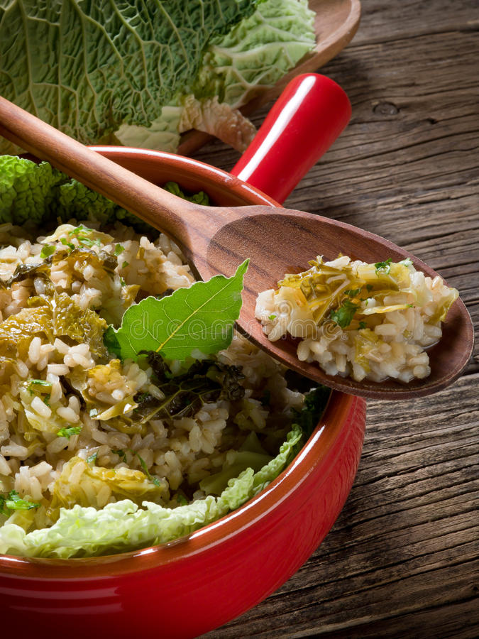 Download Risotto with savoy cabbage stock image. Image of cooked - 22901063