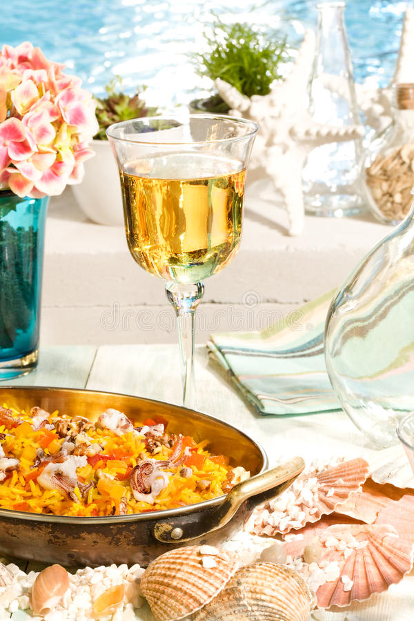 Risotto with seafood stock image