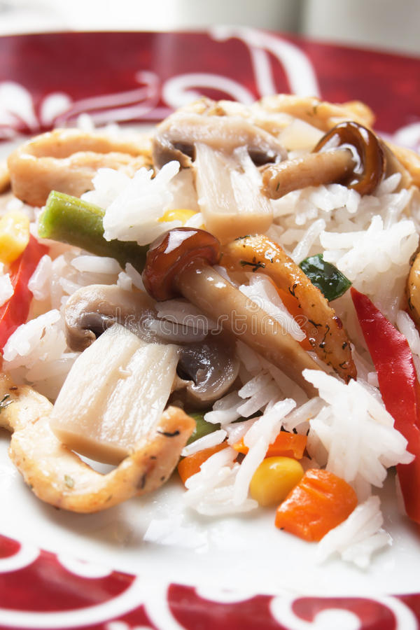 Download Risotto With Spicy Chicken And Mushrooms Stock Image - Image: 26690043