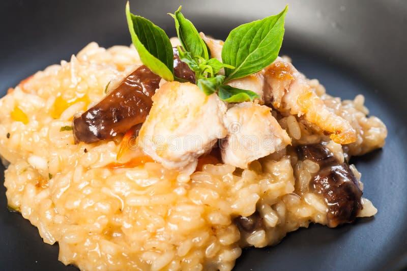Chicken mushroom risotto stock photography