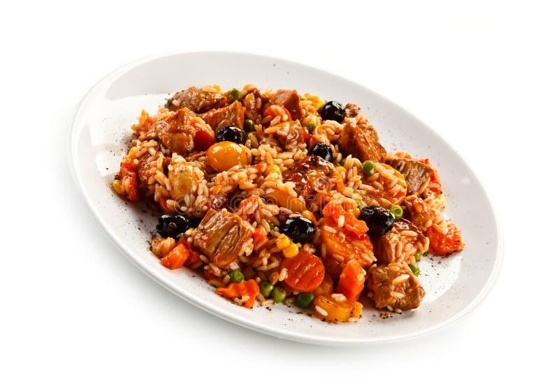 Risotto - viande, riz et légumes de rôti photos libres de droits