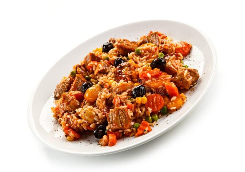 Risotto - viande, riz et légumes de rôti photographie stock