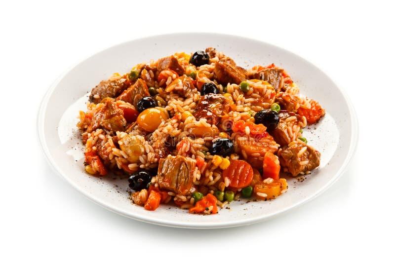 Risotto - viande, riz et légumes de rôti images libres de droits