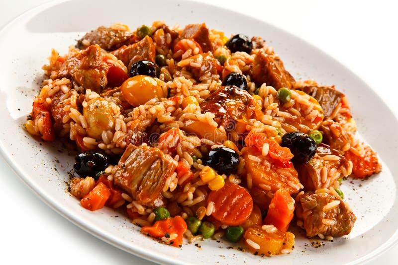 Risotto - viande, riz et légumes de rôti image libre de droits