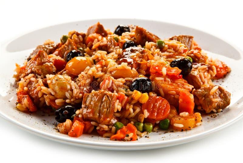 Risotto - viande, riz et légumes de rôti photographie stock libre de droits