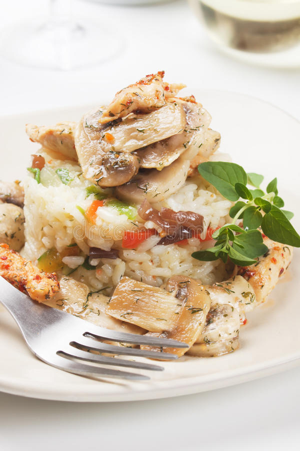 Risotto z pieczarkami i warzywami zdjęcie stock
