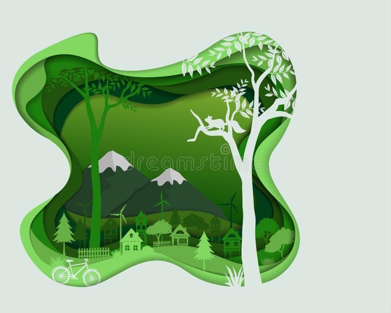 Risparmi amichevoli di Eco il concetto di conservazione dell'ambiente, siluetta della campagna nel paesaggio di colore verde illustrazione vettoriale