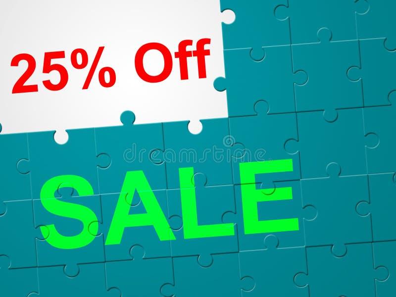 Risparmi e Closeout di riduzione di venticinque mezzi di per cento illustrazione di stock