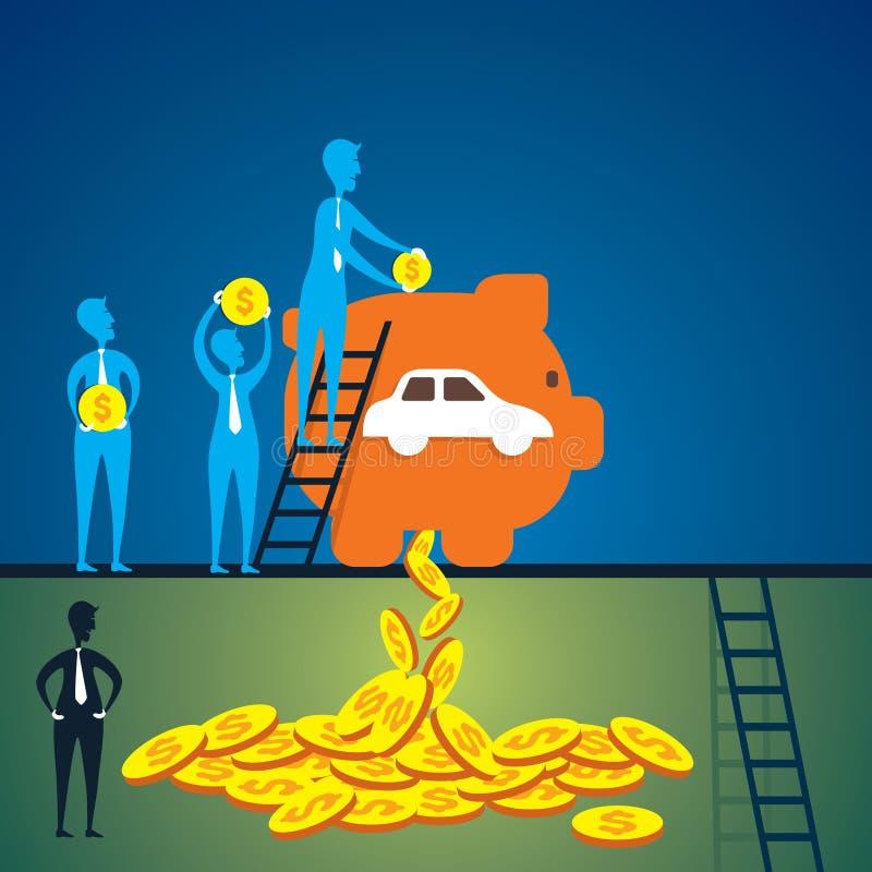 Risparmi i soldi per il concetto d'acquisto dell'automobile illustrazione di stock