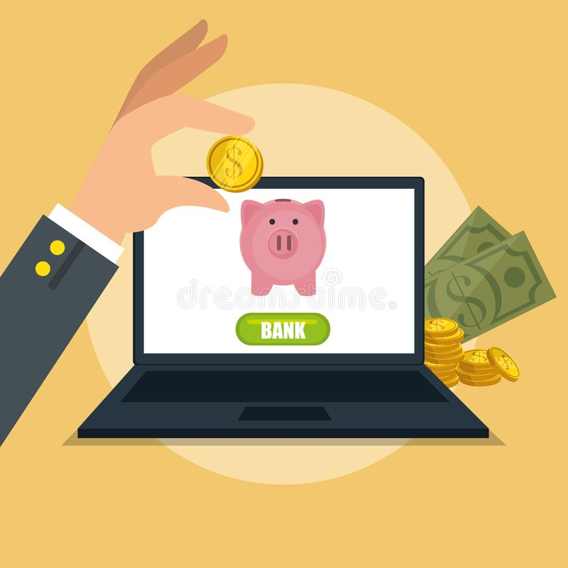 Risparmi i soldi sulla linea con il computer portatile royalty illustrazione gratis