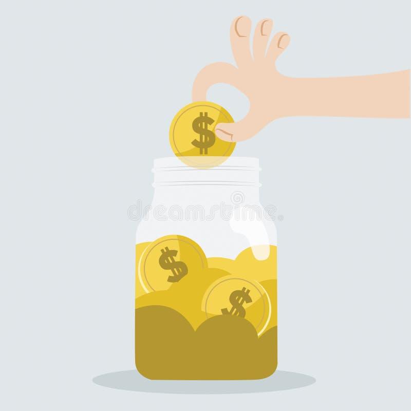Risparmi i vostri soldi in barattolo illustrazione di stock