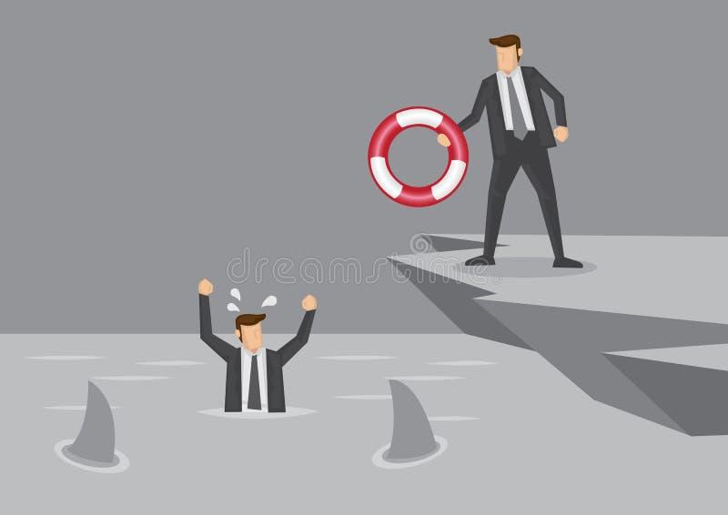 Risparmiatore di vita per l'uomo d'affari nell'illustrazione di vettore di emergenza royalty illustrazione gratis