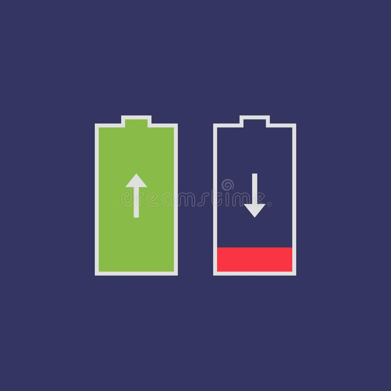 Risparmiatore piano della batteria dell'icona illustrazione di stock