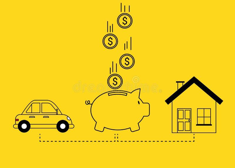 Risparmio per il concetto dell'automobile e della casa illustrazione vettoriale