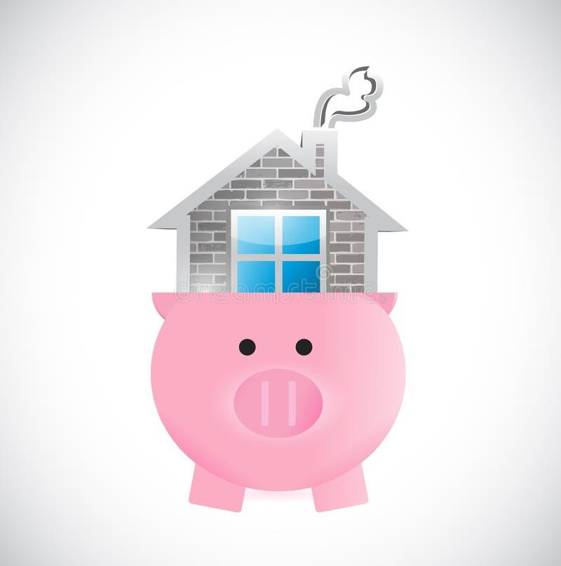 Risparmio per una casa. illustrazione della casa e di porcellino illustrazione di stock