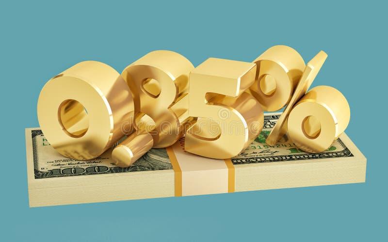 85% - risparmio - sconto - tasso di interesse immagini stock