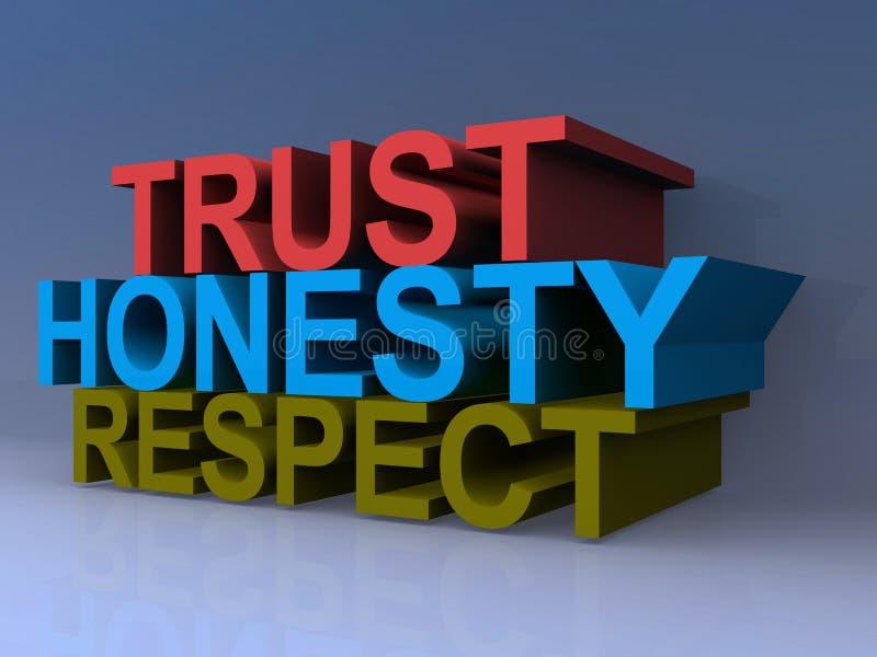 Rispetto di onestà di fiducia illustrazione vettoriale