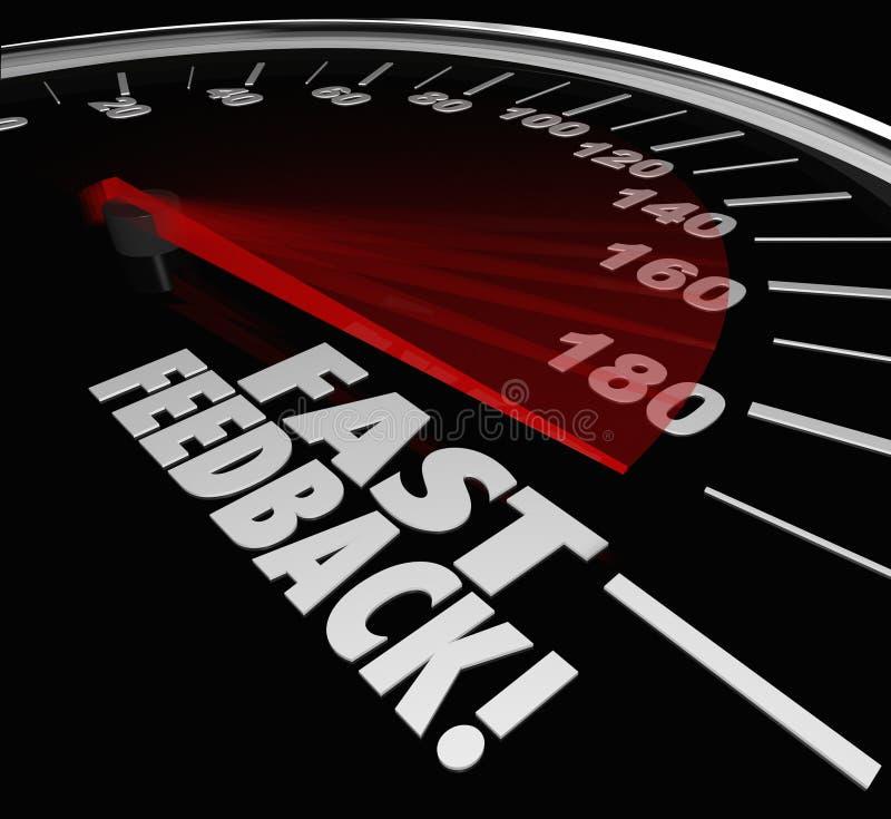 Risposta istantanea di risposta di risposta di risposte del tachimetro veloce di parole illustrazione di stock