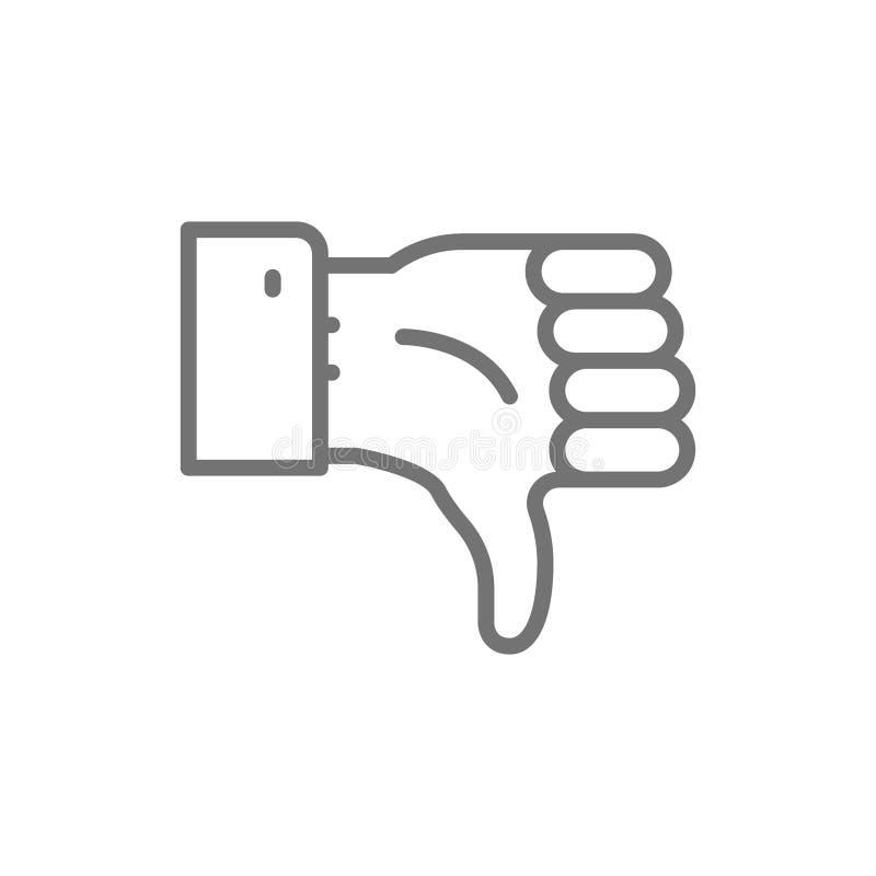 Risposte negative, basso del pollice, linea icona di avversione illustrazione di stock