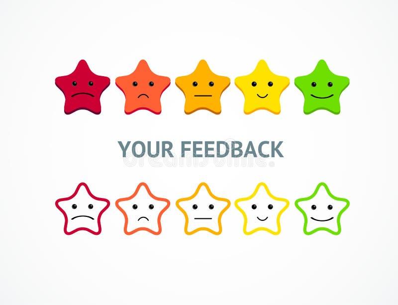 Risposte o stelle di valutazione dal positivo all'emoticon negativo Vettore illustrazione di stock