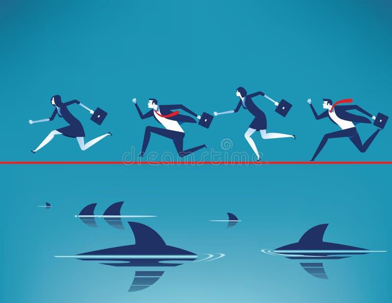 risque Équipe d'affaires courant sur la corde raide dans la corde avec flotter les requins prédateurs Illustration de vecteur d'a illustration de vecteur
