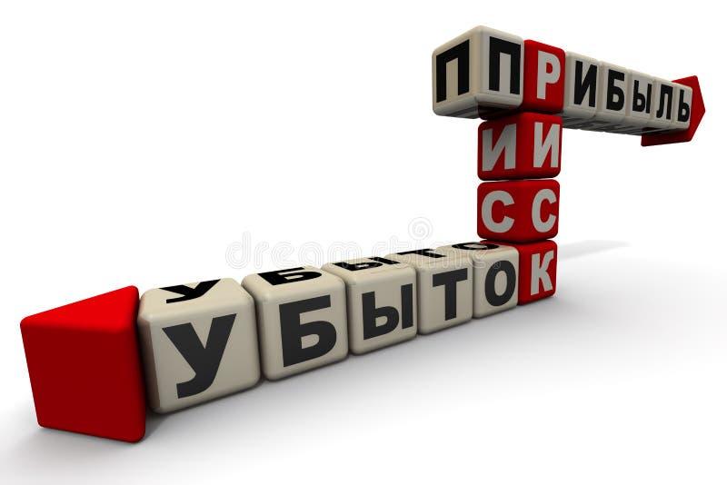 """Risque, b?n?fice, perte Texte de traduction : """"Risque, bénéfice, perte """" illustration libre de droits"""