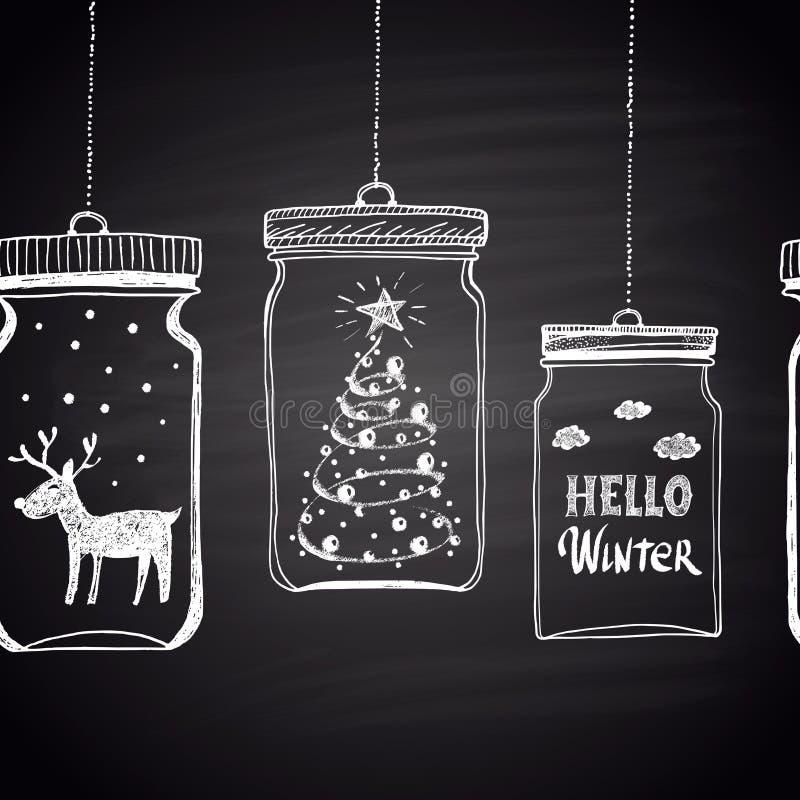 Risque a beira horizontal branca tirada com árvore de Natal, nuvens, texto, neve e cervos em um frasco Tema do ano novo feliz ilustração royalty free