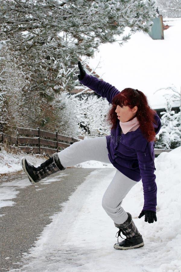 Risque d'accidents en hiver image stock