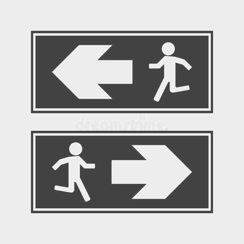 Risque d'incendie Itinéraire d'icône de vecteur d'évacuation L'ico d'évacuation illustration de vecteur
