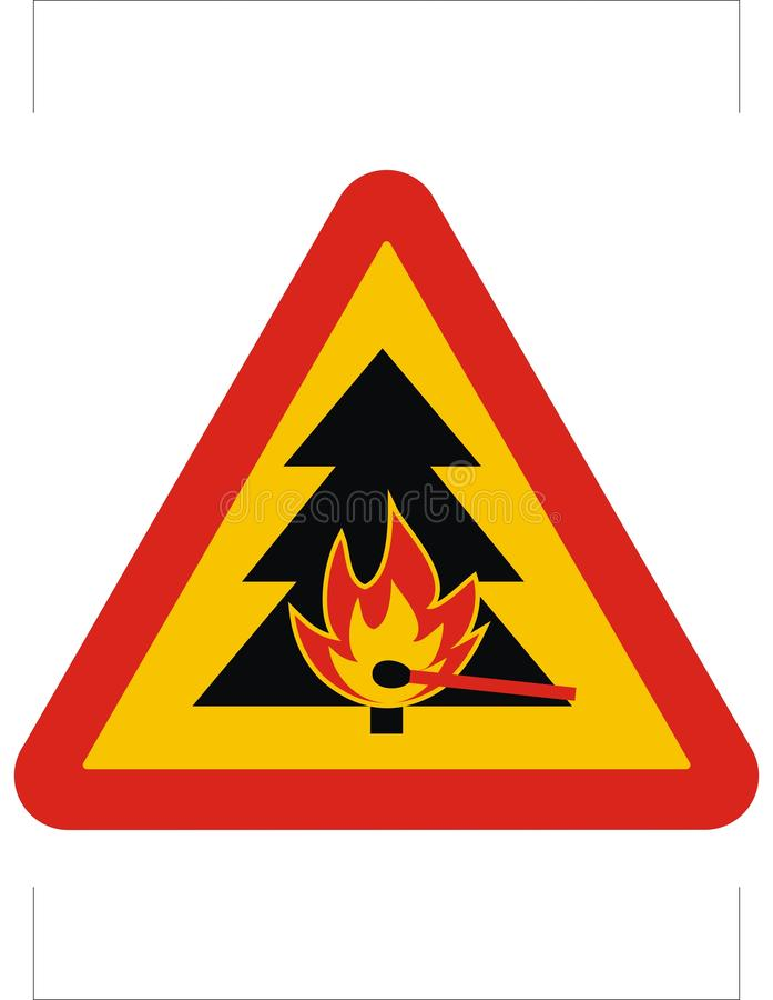 Risque d'incendie, poteau de signalisation de triangle, icône de vecteur illustration libre de droits